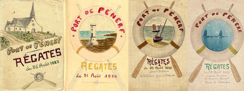 Affiches des régates au Port de Pénerf de 1923, 1924, 1926 et 1927