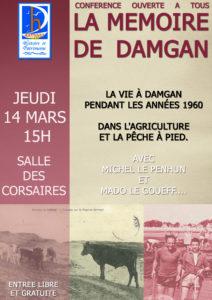 affiche damgan histoire et patrimoine conférence gratuite le 15 03 2019 sur les années 60